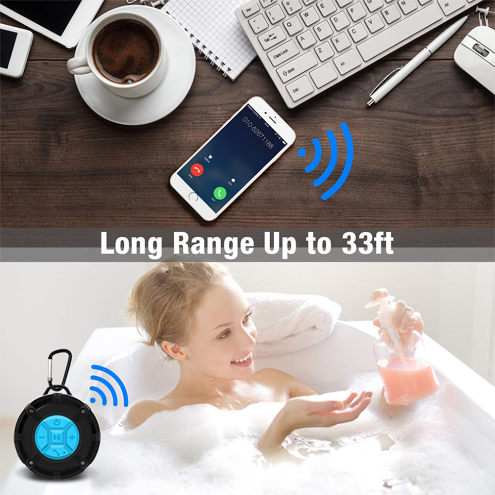 Waterproof Bluetooth Speaker with HD Sound, 6H Playtime Portable Speaker with Suction Cup, Built-in Microphone_8