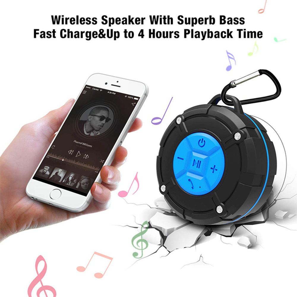 Waterproof Bluetooth Speaker with HD Sound, 6H Playtime Portable Speaker with Suction Cup, Built-in Microphone_9
