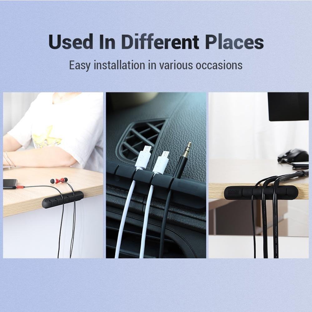USB Wires Cable Winder Silicone Holder and Organizer Desktop Tidy Management Clips Cable Holder Organizer_5
