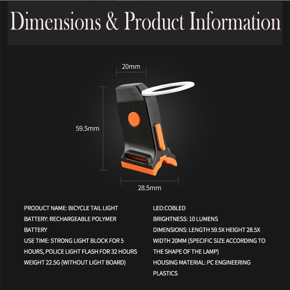 USB Charging LED Multiple Lighting Modes Bicycle Light Flashing Tail Light Rear Warning Bicycle Lights_4