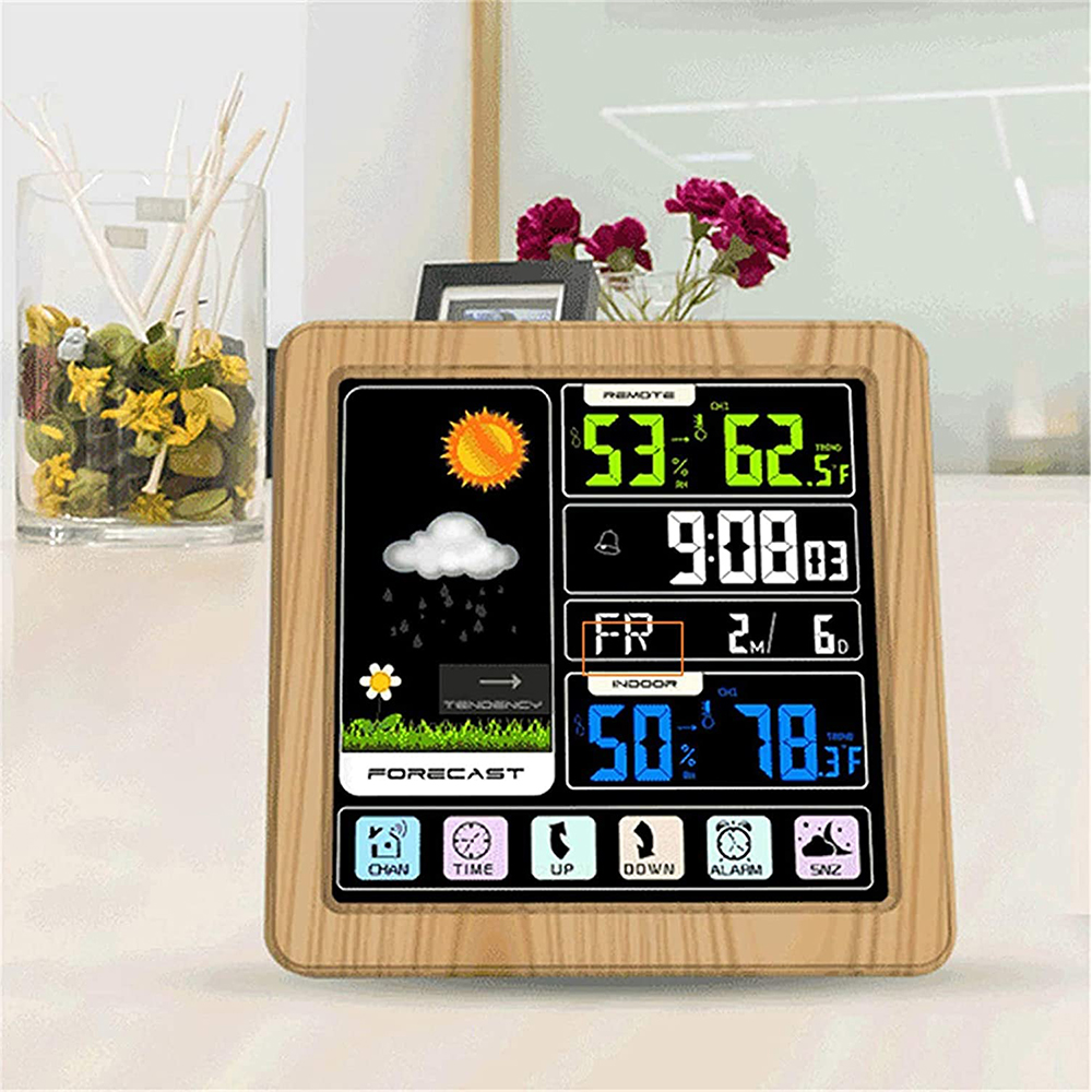 Digital Wireless Multi-Functional Weather Clock Color Screen Creative Home Touch Screen Thermometer Forecast Station Clock_1