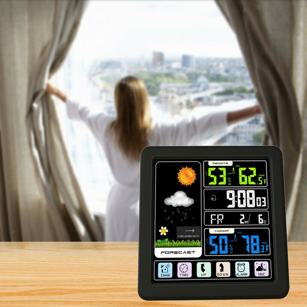 Digital Wireless Multi-Functional Weather Clock Color Screen Creative Home Touch Screen Thermometer Forecast Station Clock_2