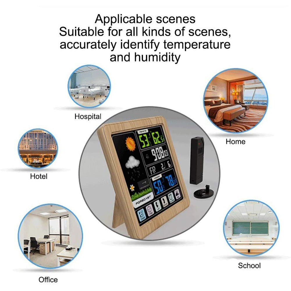 Digital Wireless Multi-Functional Weather Clock Color Screen Creative Home Touch Screen Thermometer Forecast Station Clock_5
