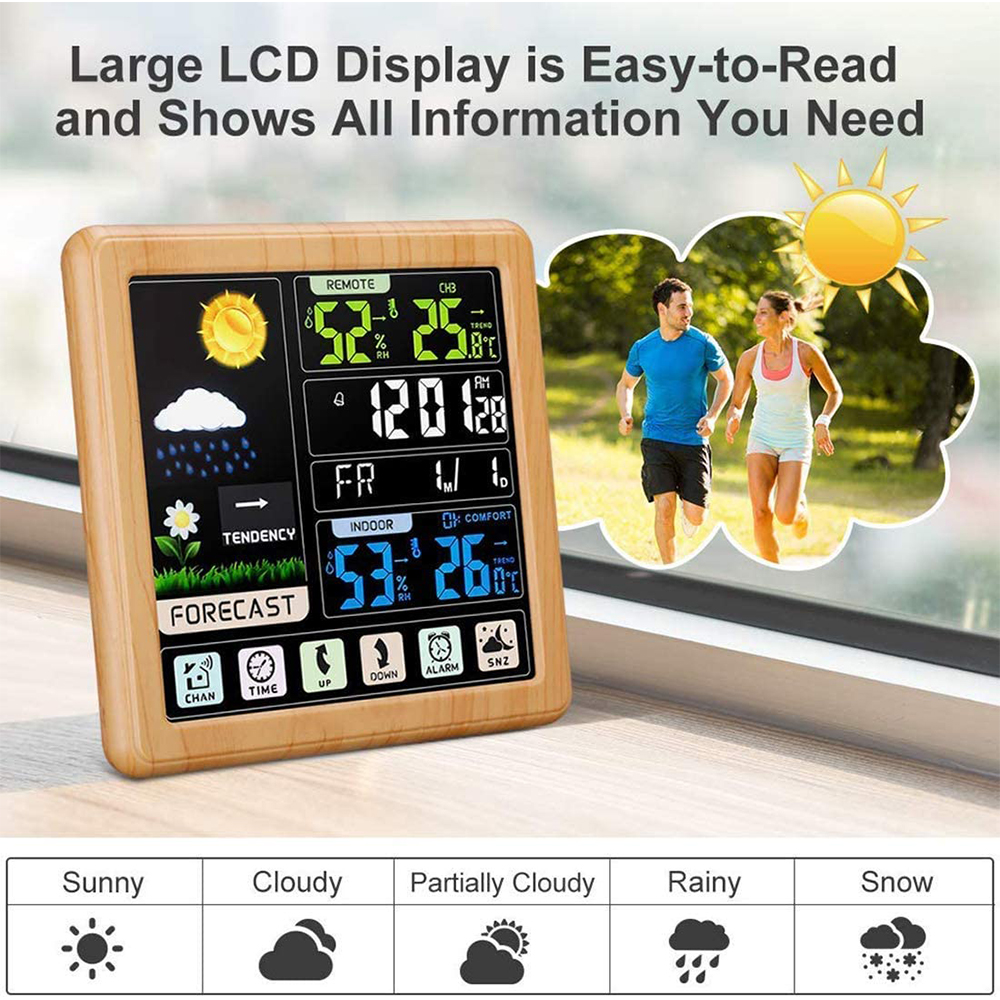 Digital Wireless Multi-Functional Weather Clock Color Screen Creative Home Touch Screen Thermometer Forecast Station Clock_7