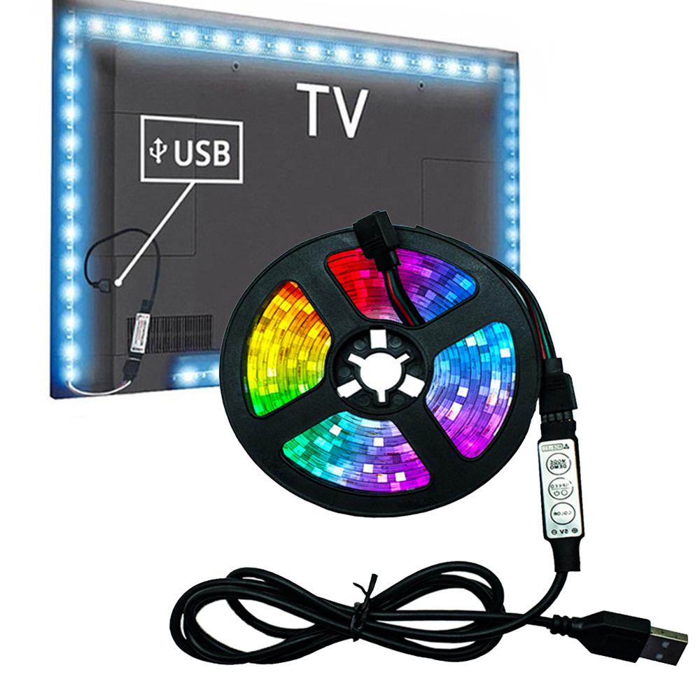 5v USB Interface RGB LED Light Strip Room Light with 3 Key Controller_1