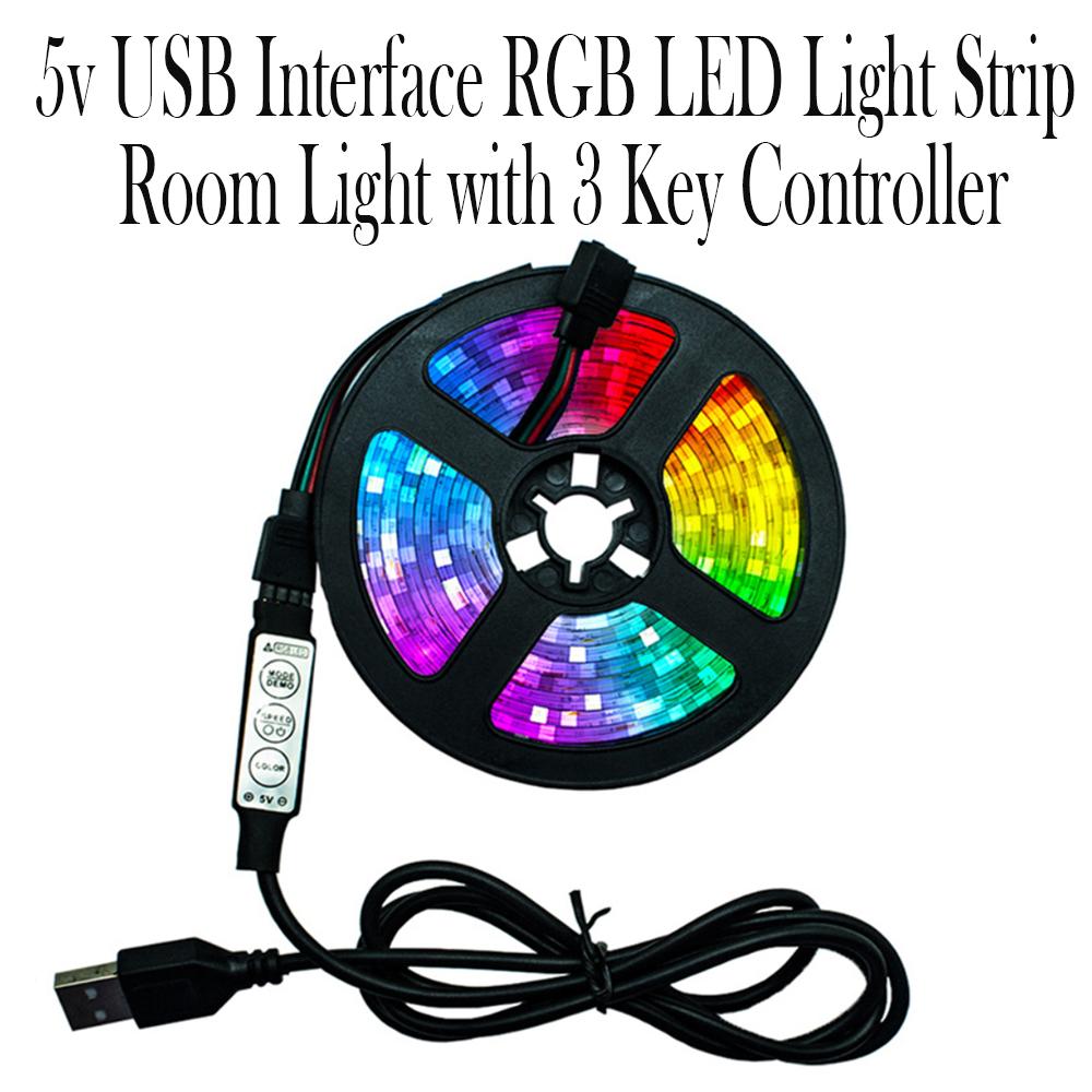 5v USB Interface RGB LED Light Strip Room Light with 3 Key Controller_7