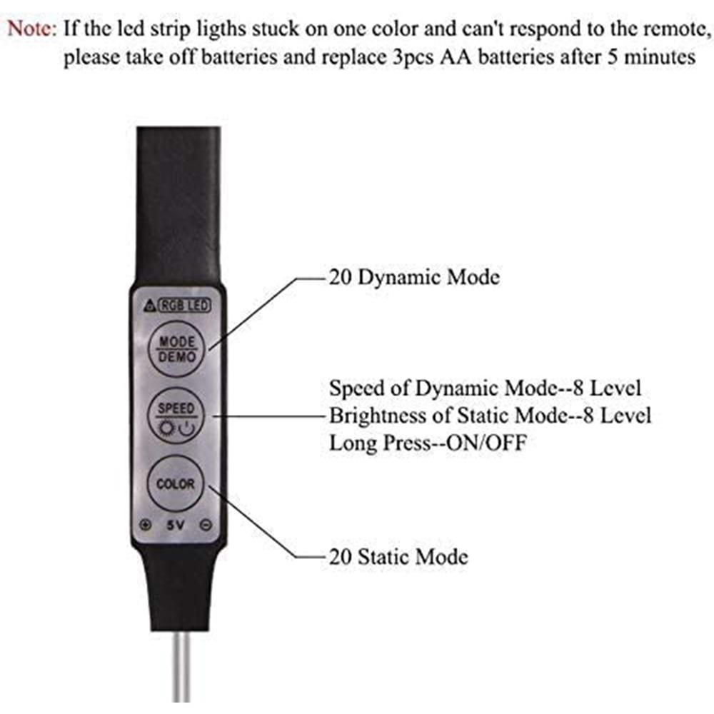 5v USB Interface RGB LED Light Strip Room Light with 3 Key Controller_2
