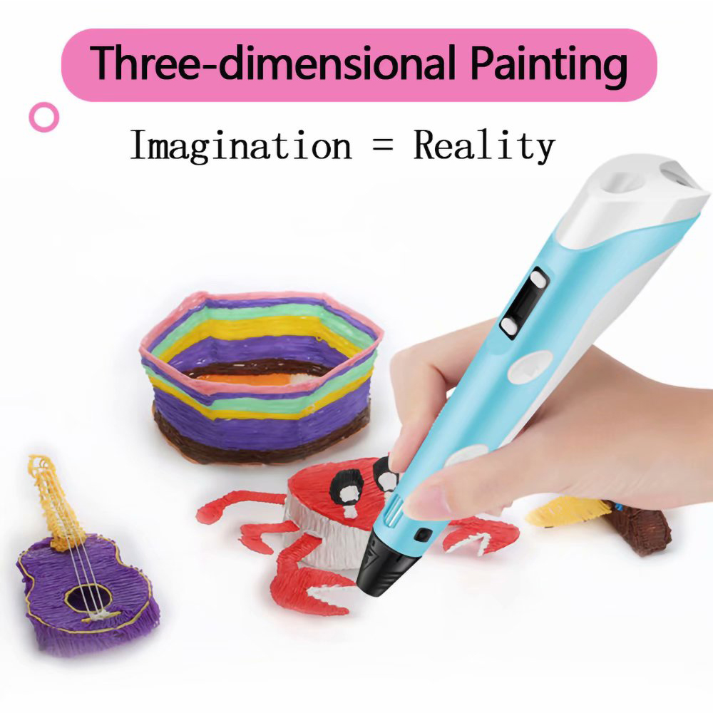 Magic 3D Printing Pen for Kids DIY Pen with LED Display and Filaments_3
