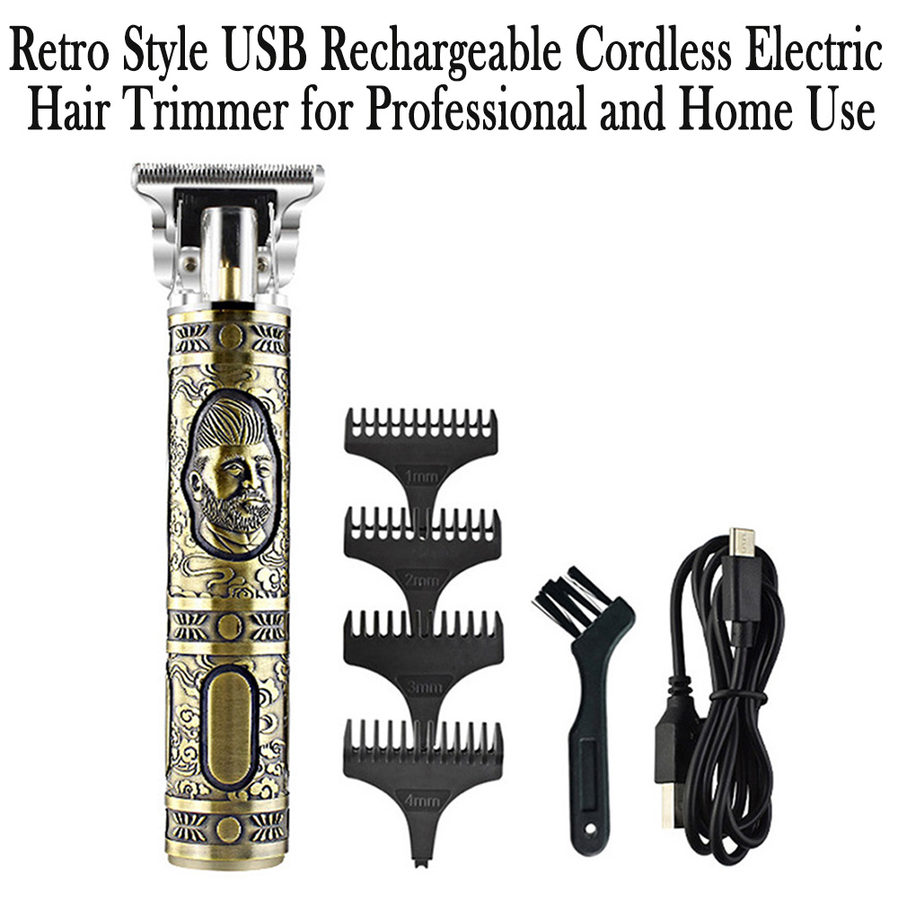 Retro Style USB Rechargeable Cordless Electric Hair Trimmer for Professional and Home Use_8
