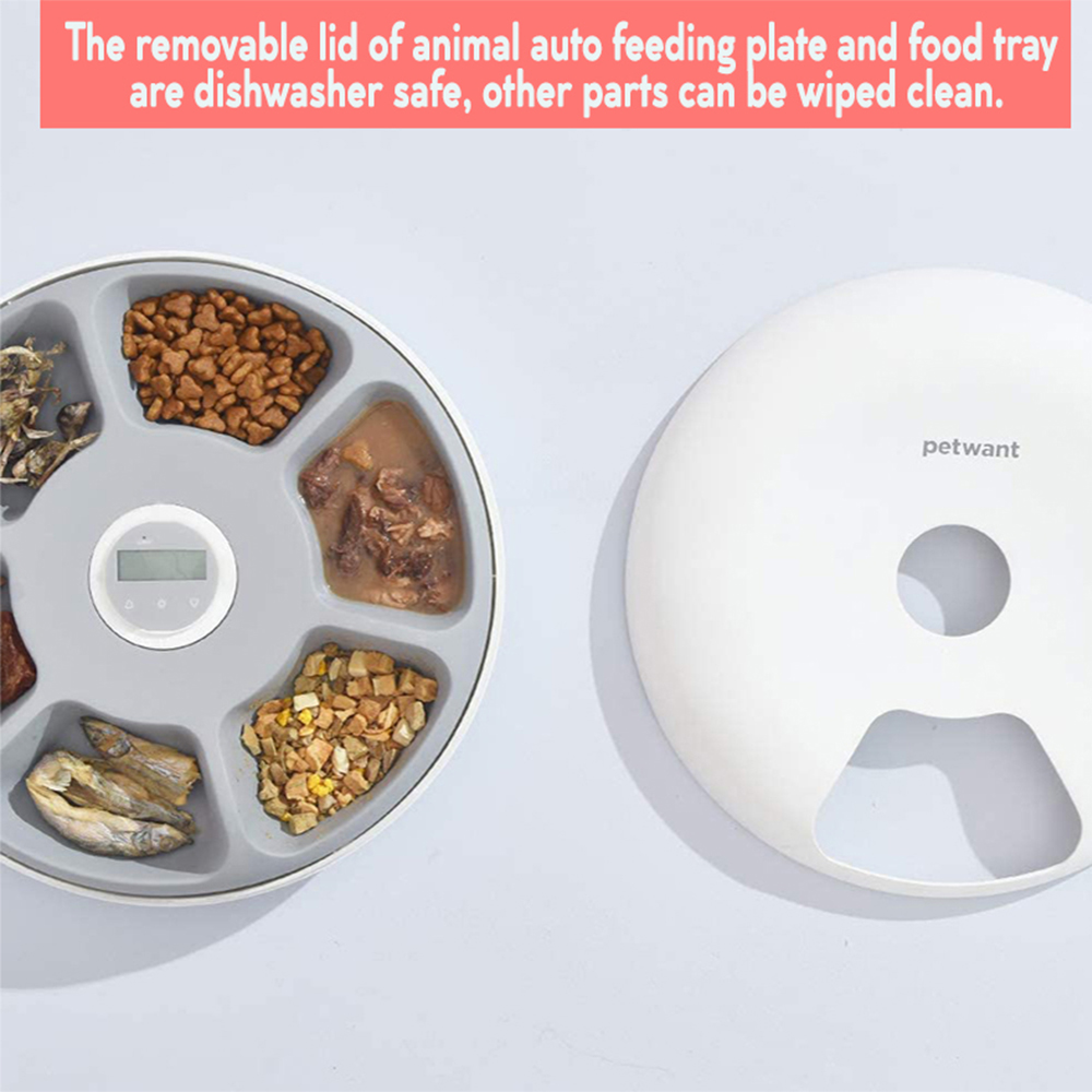 Intelligent Wet & Dry Food Dispenser 6-Compartments 180ml Cat and Dog Pet Auto-Feeder_5