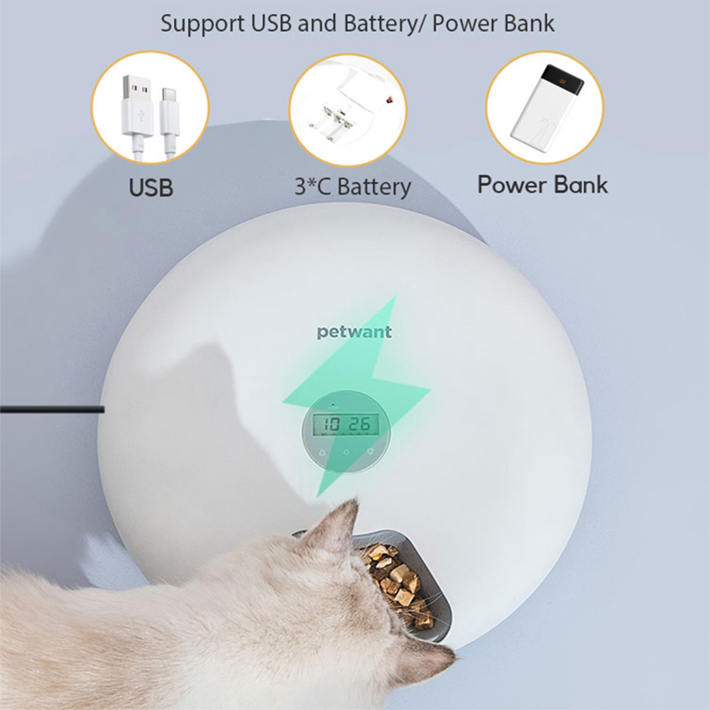Intelligent Wet & Dry Food Dispenser 6-Compartments 180ml Cat and Dog Pet Auto-Feeder_3