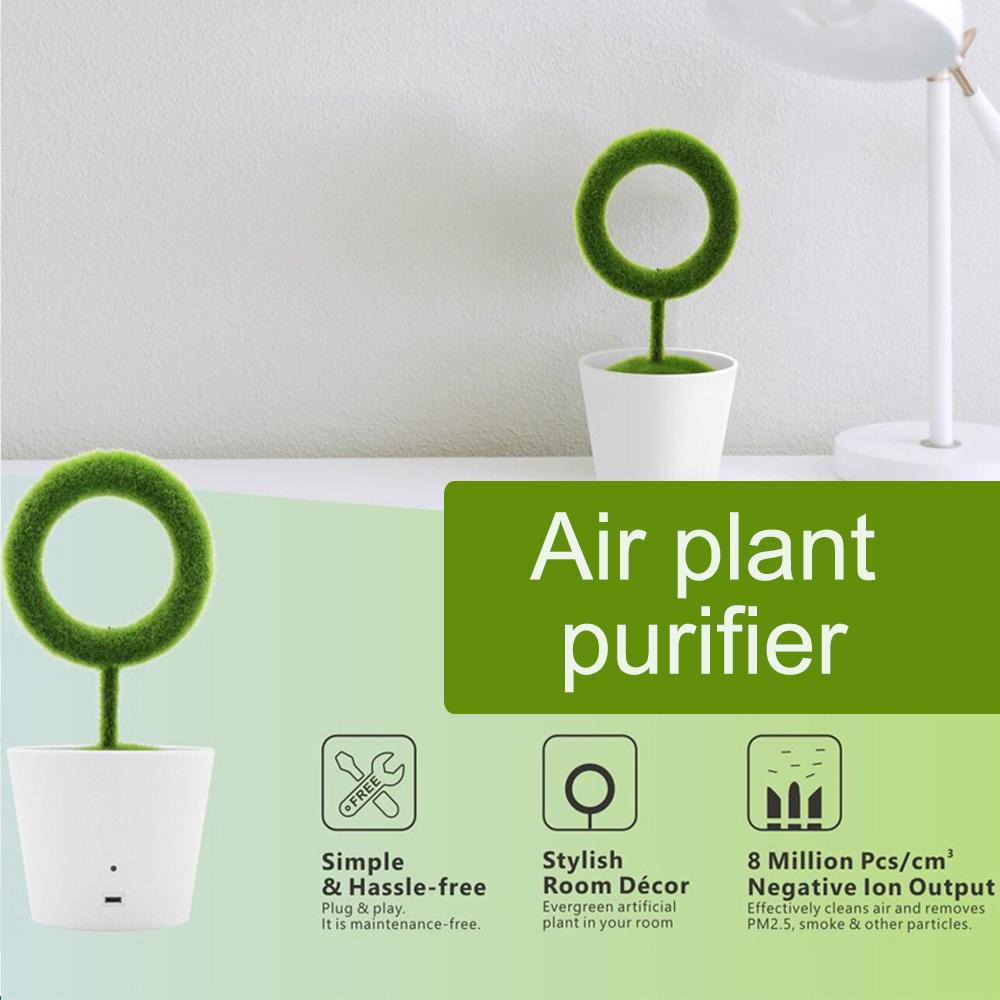 USB Powered Portable Green Plant Negative Ion Desktop Air Purifier_8
