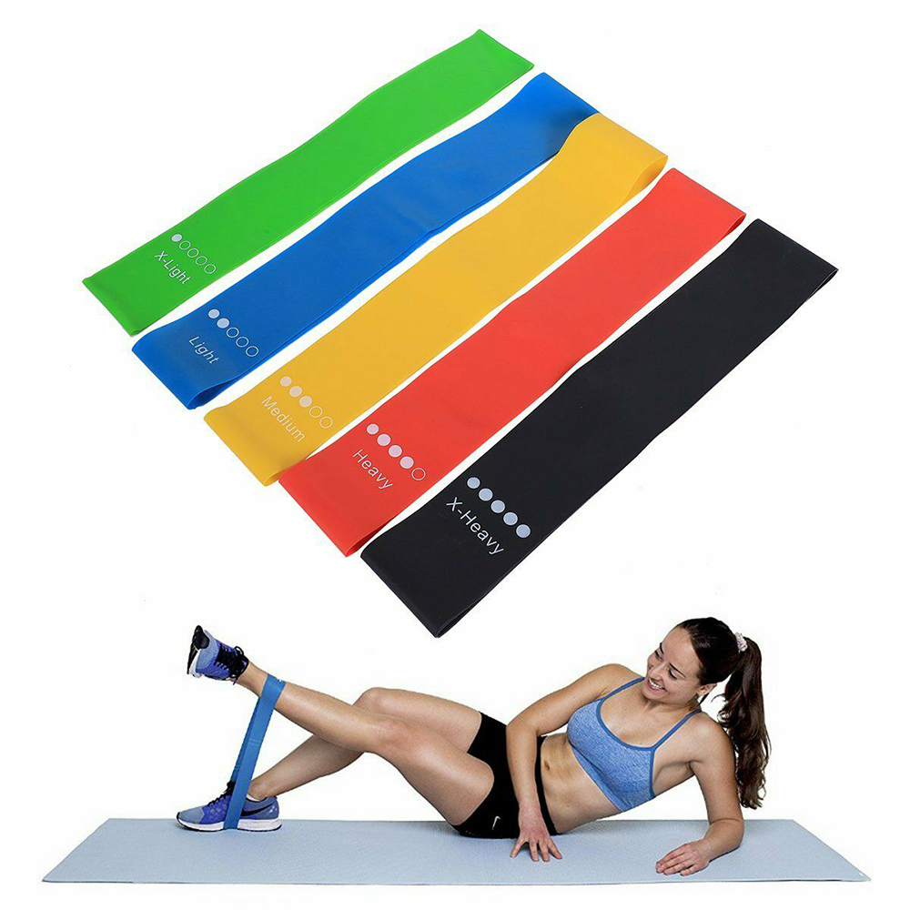 5-Pc Skin Friendly Different Levels Yoga Resistance Bands_8