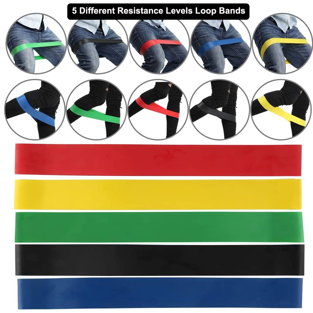 5-Pc Skin Friendly Different Levels Yoga Resistance Bands_1