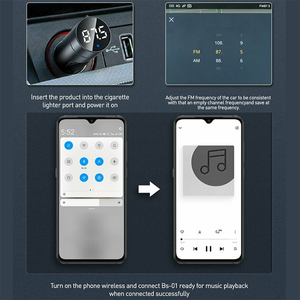 Wireless Car Bluetooth Transmitter and Charger Column Style_4