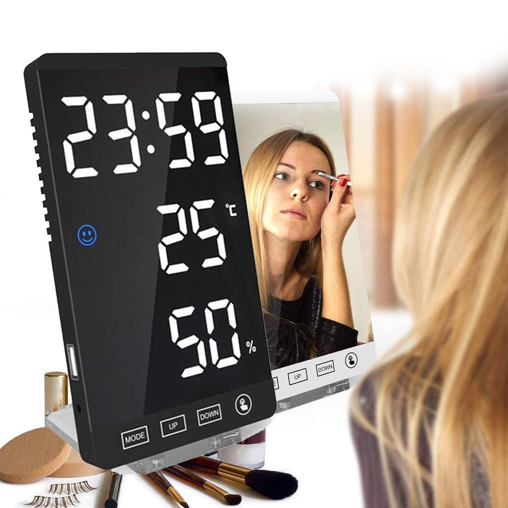 6-inch LED Mirror Touch Button Alarm Clock_2