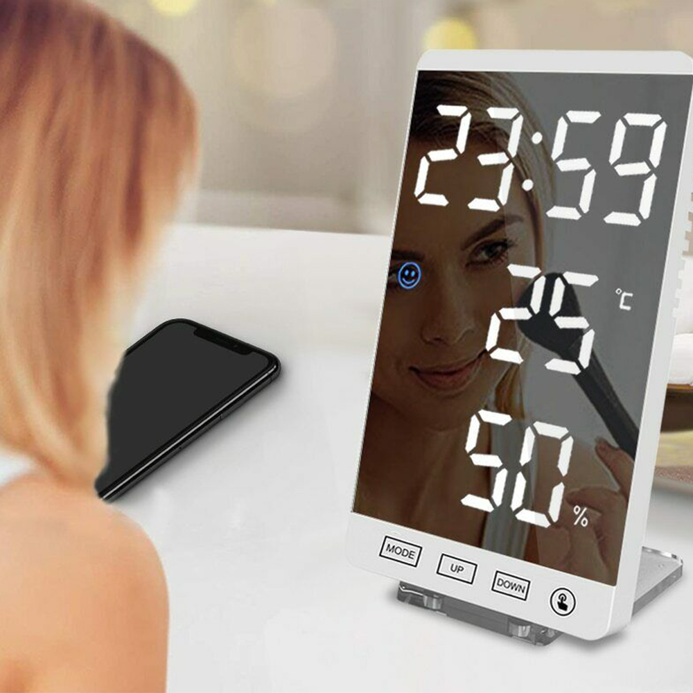 6-inch LED Mirror Touch Button Alarm Clock_3