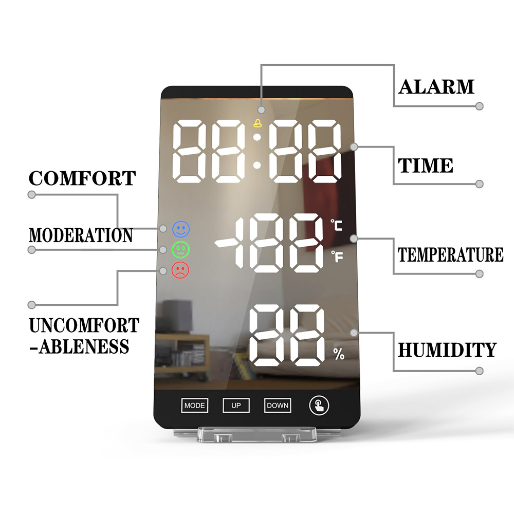 6-inch LED Mirror Touch Button Alarm Clock_8