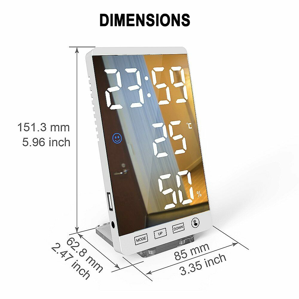 6-inch LED Mirror Touch Button Alarm Clock_9