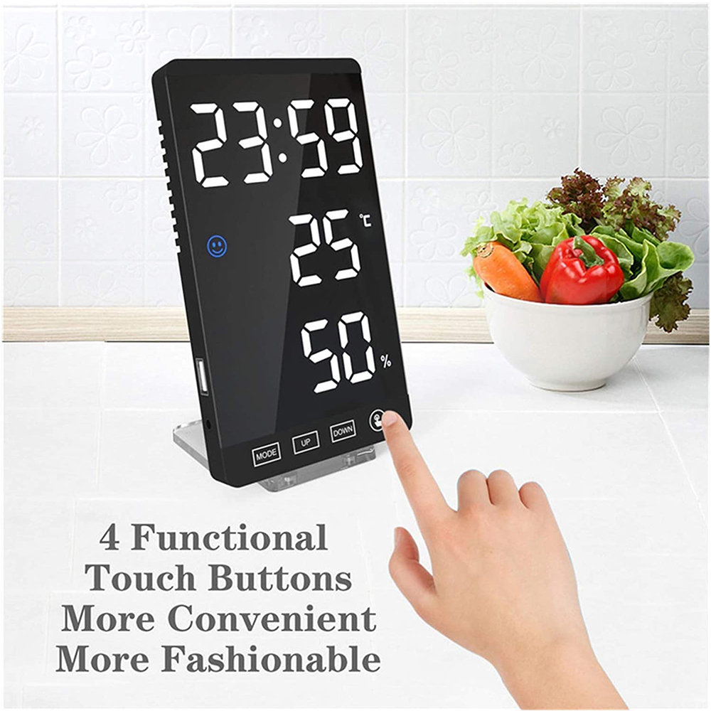 6-inch LED Mirror Touch Button Alarm Clock_4