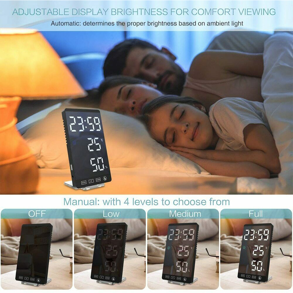 6-inch LED Mirror Touch Button Alarm Clock_7
