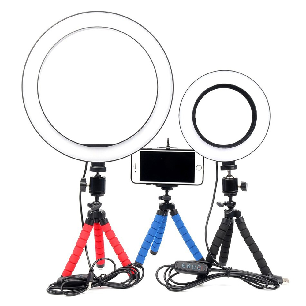 26cm Dimmable LED Selfie Ring Light with Tripod_1