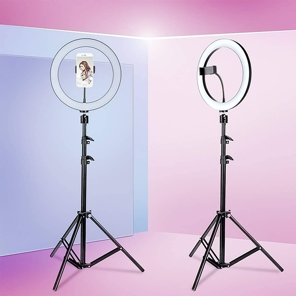26cm Dimmable LED Selfie Ring Light with Tripod_4