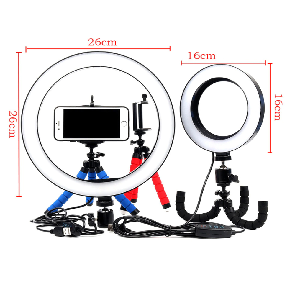 26cm Dimmable LED Selfie Ring Light with Tripod_5