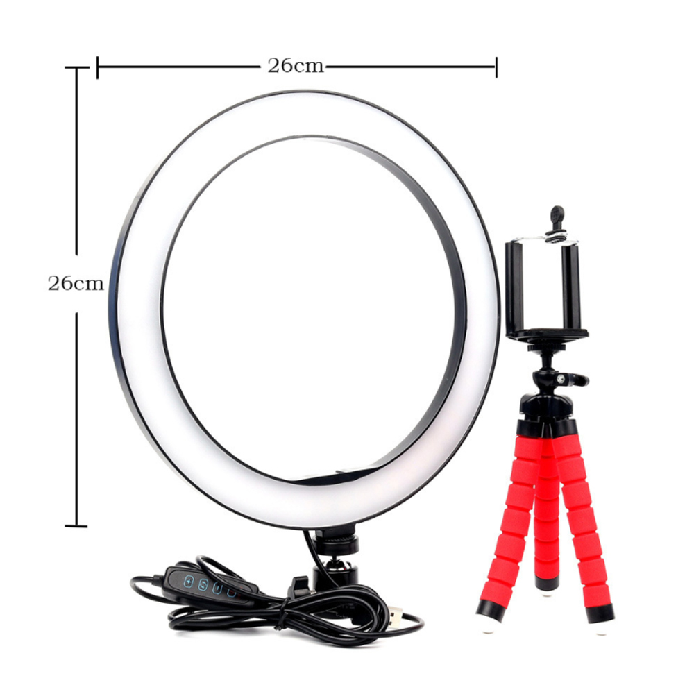 26cm Dimmable LED Selfie Ring Light with Tripod_6