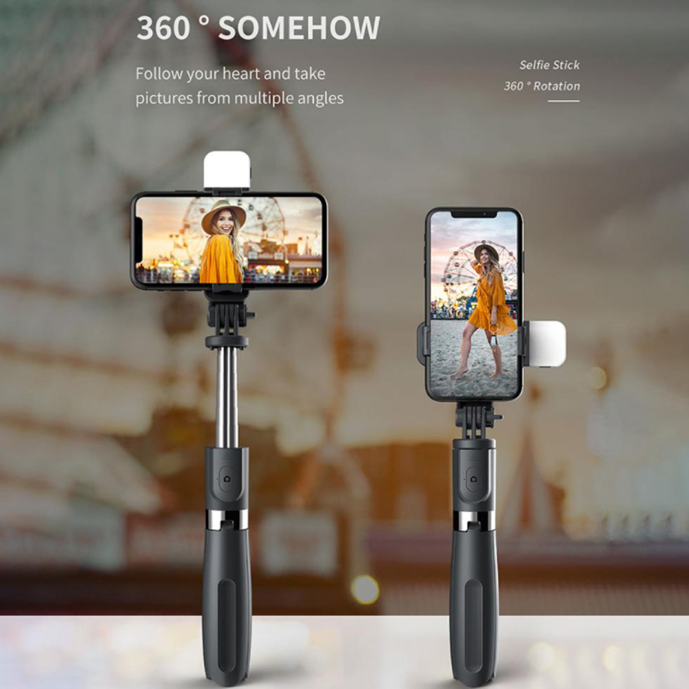 2-in-1 Foldable Monopod and Tripod with Remote Control Shutter Fill Light_6