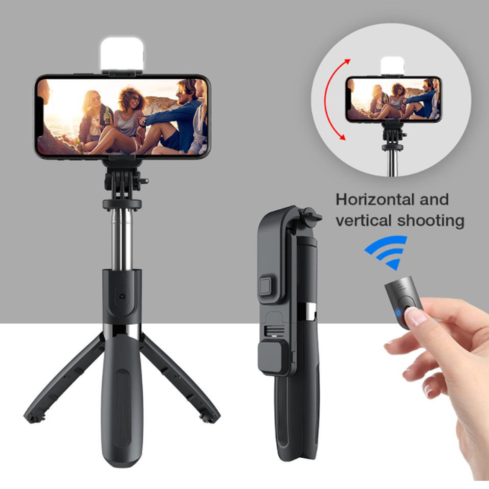 2-in-1 Foldable Monopod and Tripod with Remote Control Shutter Fill Light_8