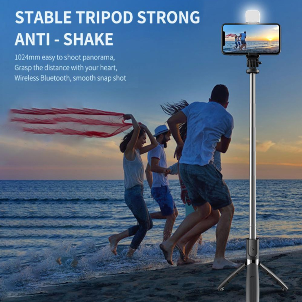 2-in-1 Foldable Monopod and Tripod with Remote Control Shutter Fill Light_5