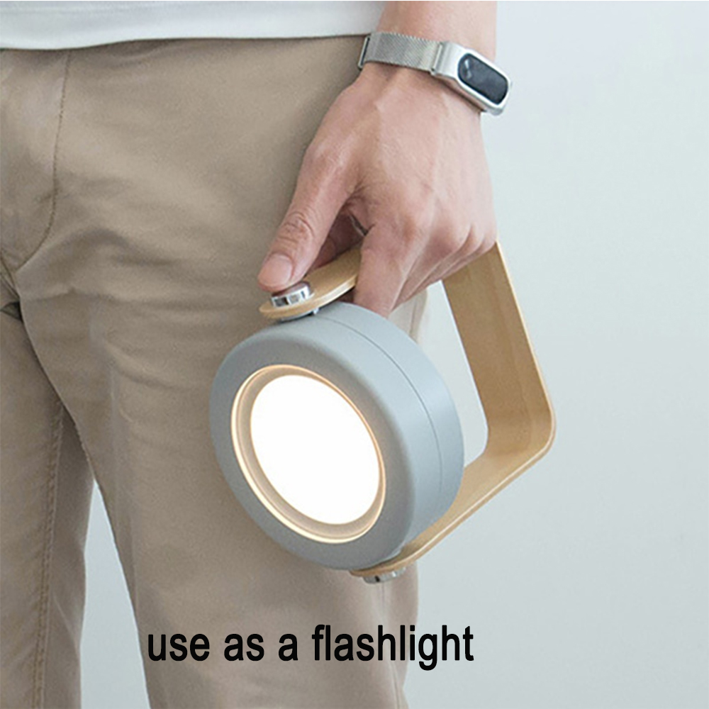 USB Rechargeable LED Retractable Folding Lamp Portable Wooden Night Light_1