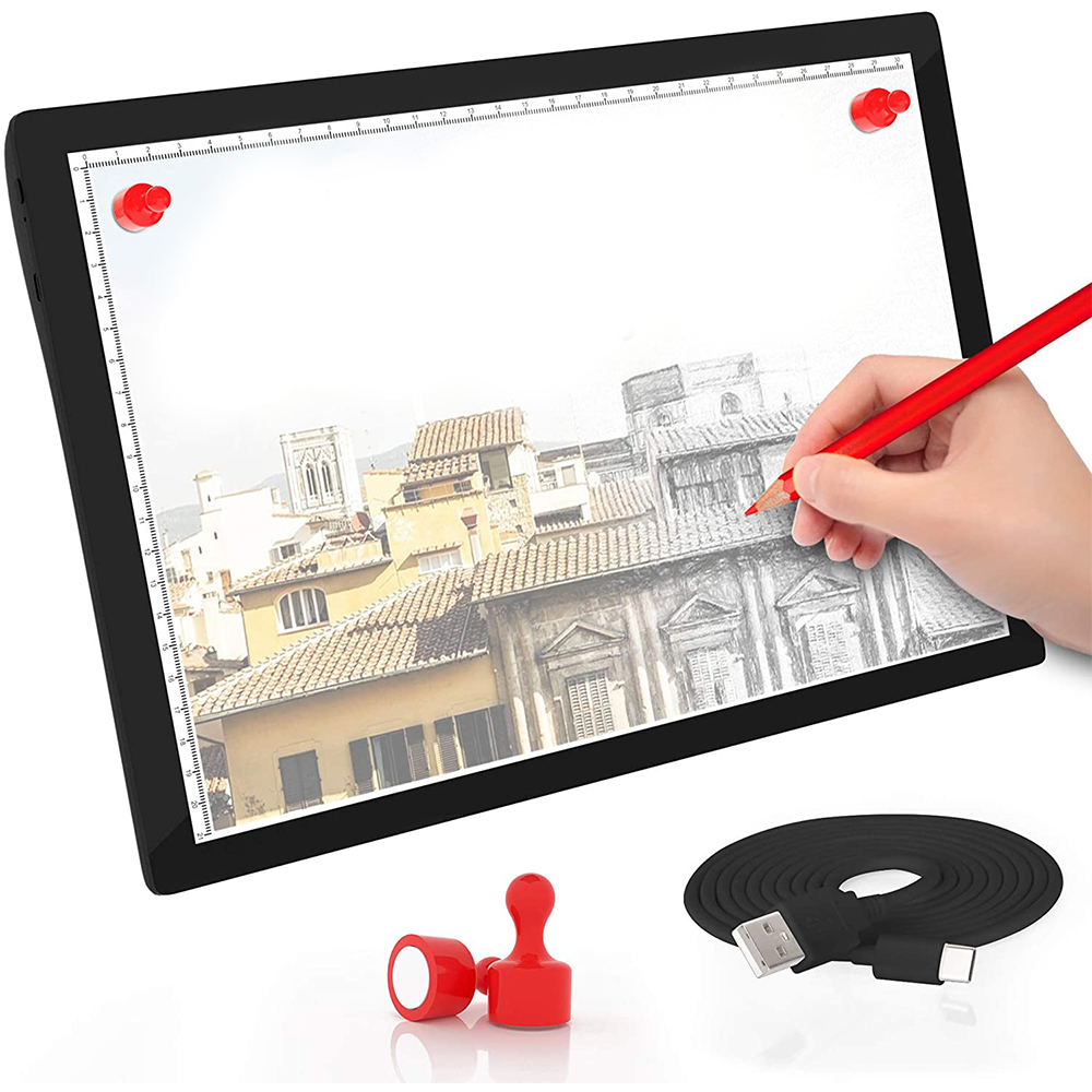 USB Rechargeable A4 Magnetic Pad Guide Light Tracing and Drawing Board_3