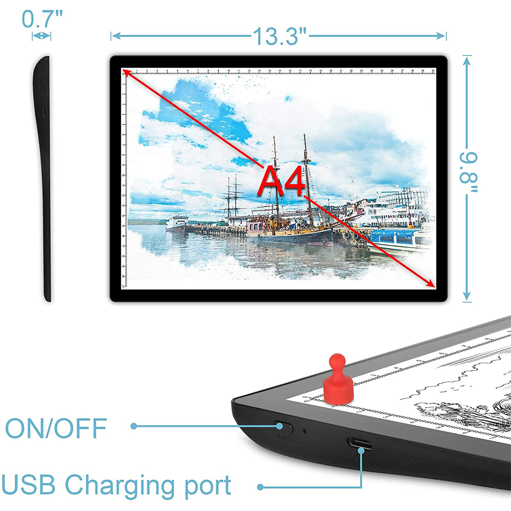 USB Rechargeable A4 Magnetic Pad Guide Light Tracing and Drawing Board_5