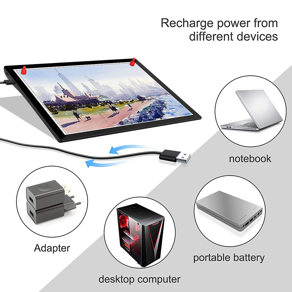 USB Rechargeable A4 Magnetic Pad Guide Light Tracing and Drawing Board_7