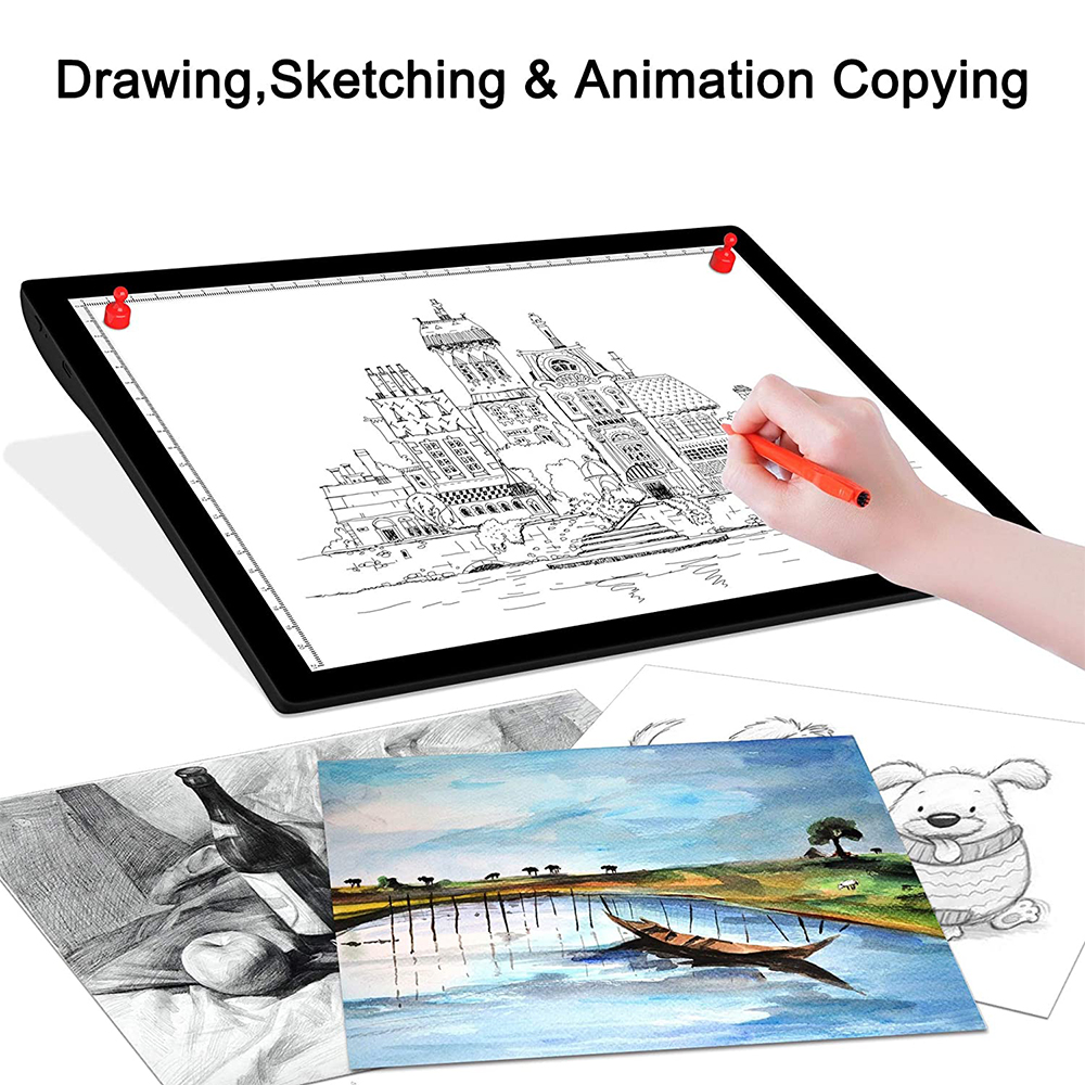 USB Rechargeable A4 Magnetic Pad Guide Light Tracing and Drawing Board_8