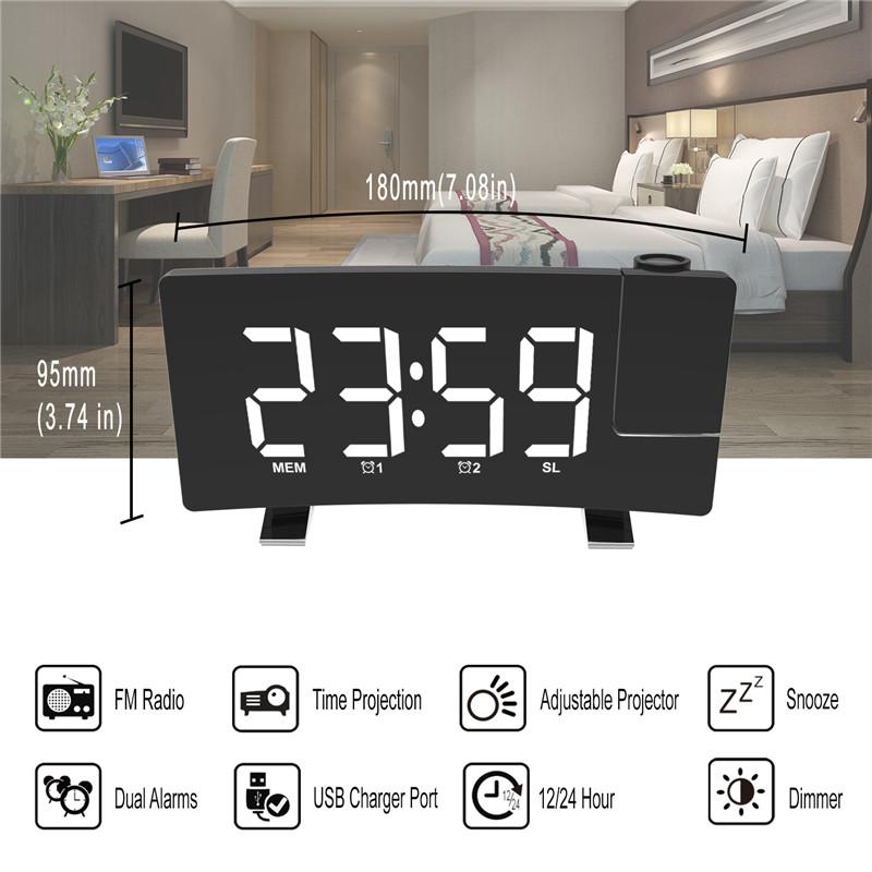 Projector FM Radio LED Display Alarm Clock_9