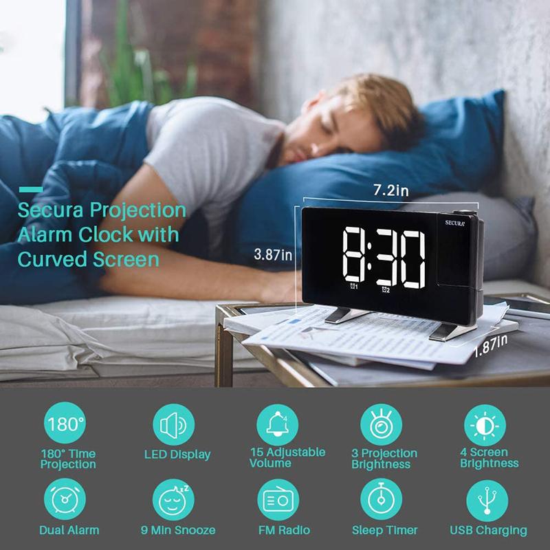 Projector FM Radio LED Display Alarm Clock_1