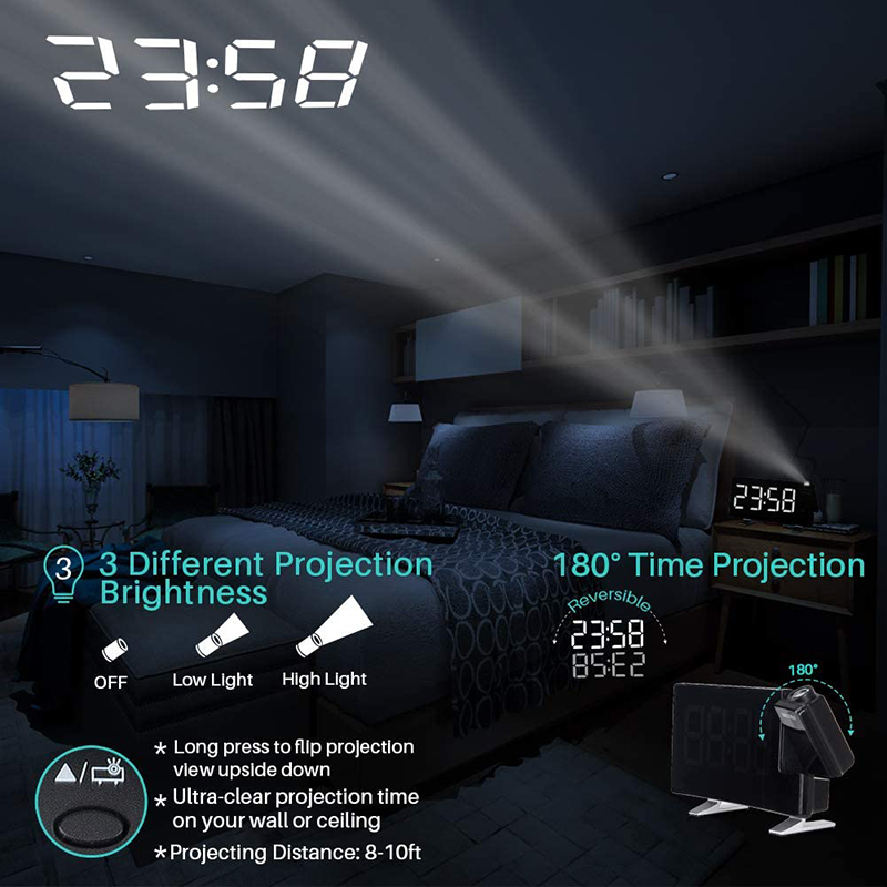 Projector FM Radio LED Display Alarm Clock_2