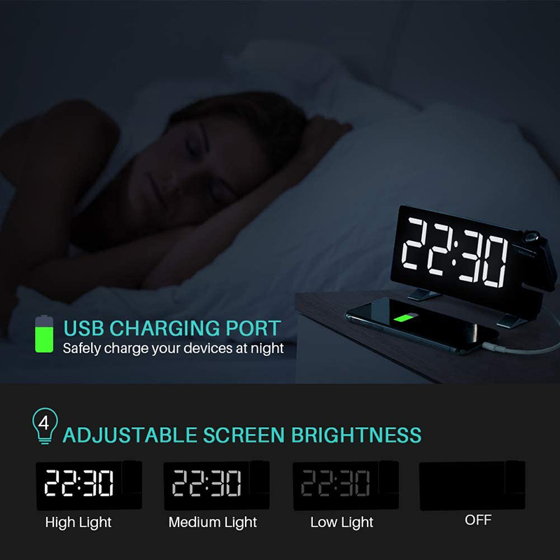 Projector FM Radio LED Display Alarm Clock_3