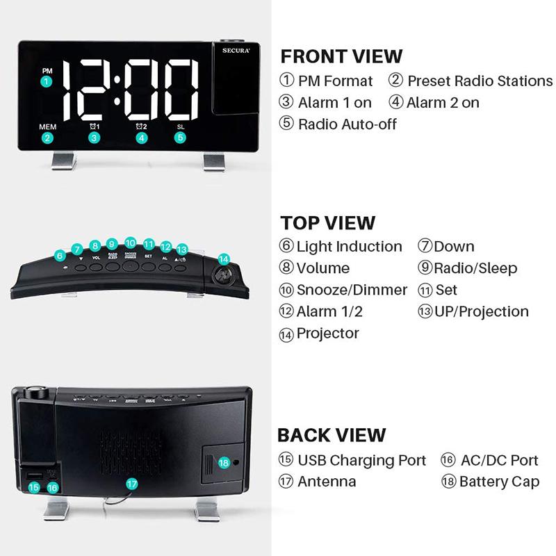 Projector FM Radio LED Display Alarm Clock_6