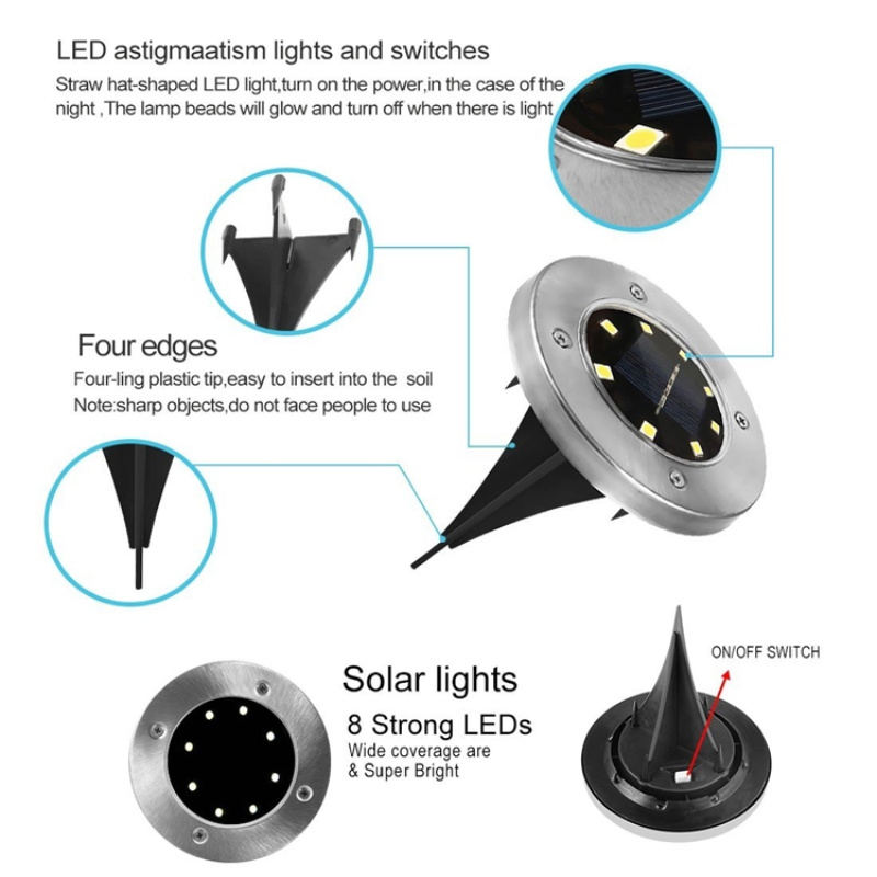Pack of 4 Solar Powered LED Outdoor Solar Garden Ground Lights_3