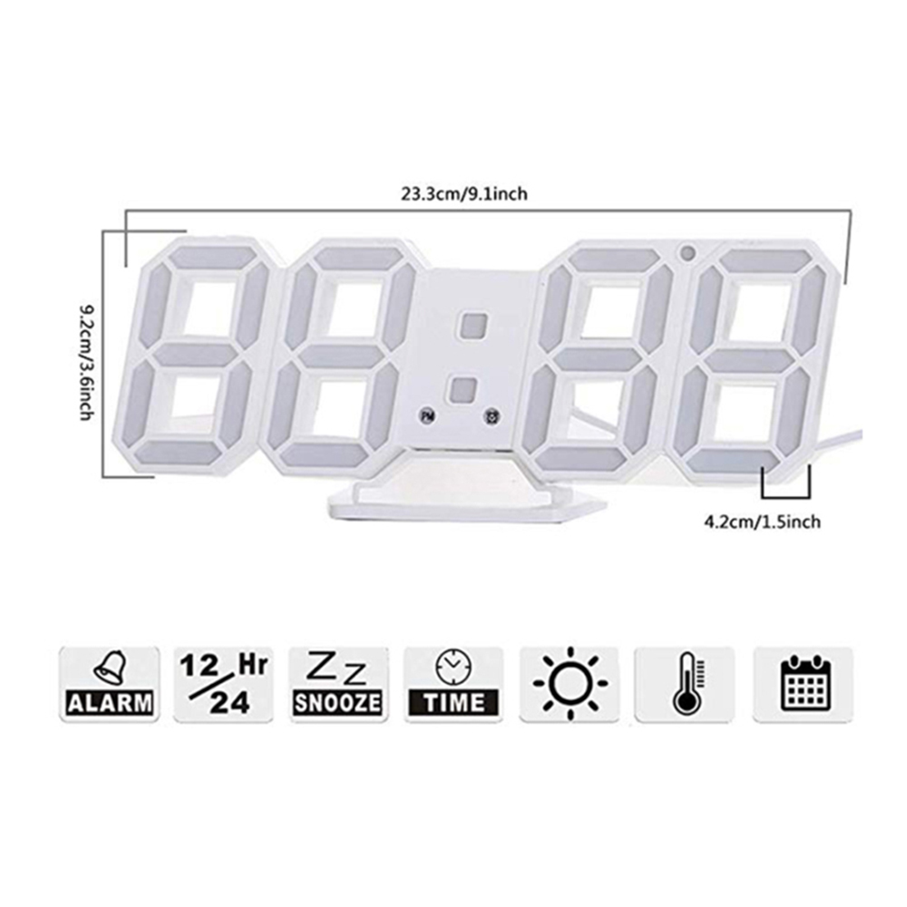 Digital Modern Plugged-in 3D LED Wall and Alarm Clock_9
