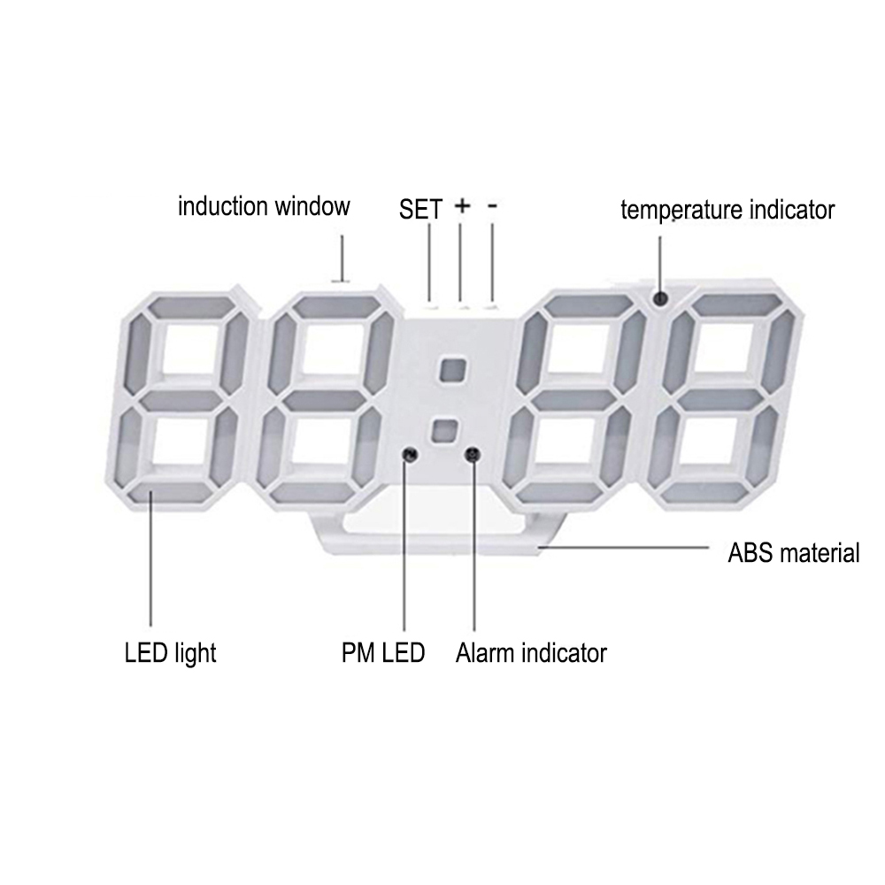 Digital Modern Plugged-in 3D LED Wall and Alarm Clock_4