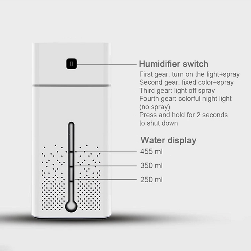 Large Capacity Air Humidifier Essential Oil Diffuser with LED_5