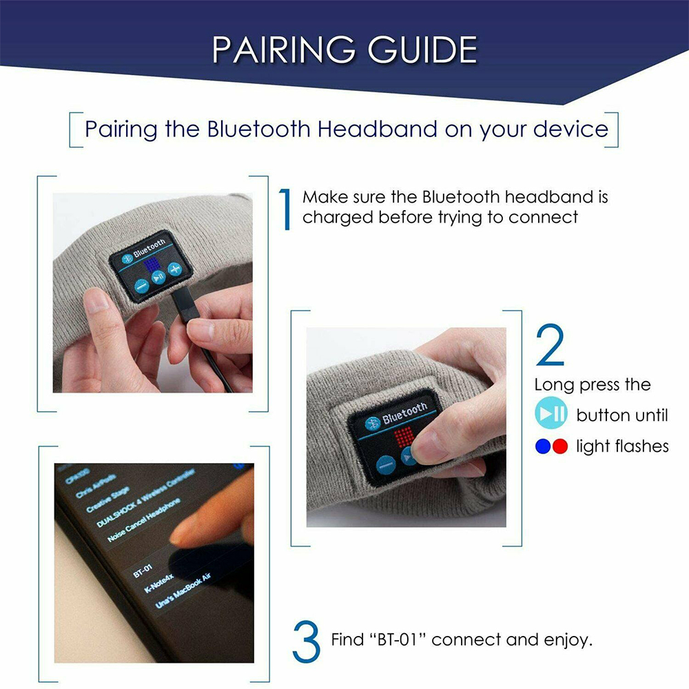 Musical Bluetooth Exercising Rechargeable Sleeping Headband_4