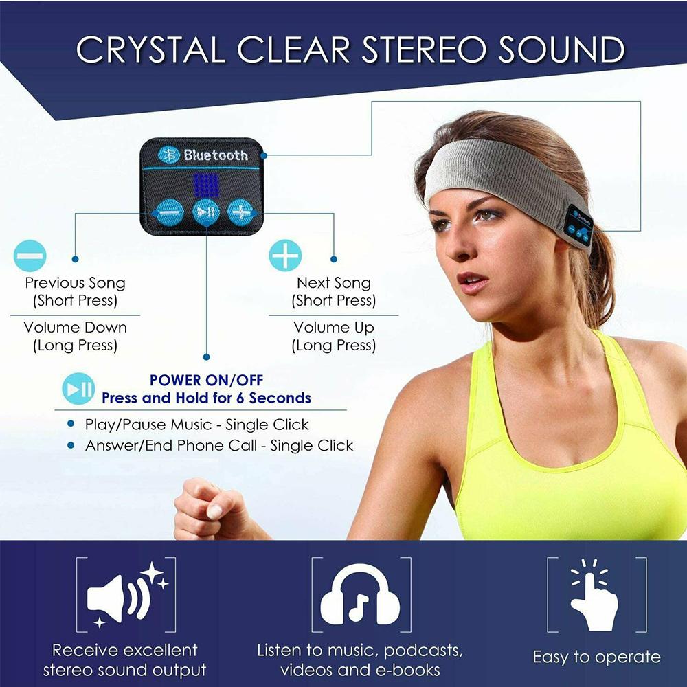 Musical Bluetooth Exercising Rechargeable Sleeping Headband_8