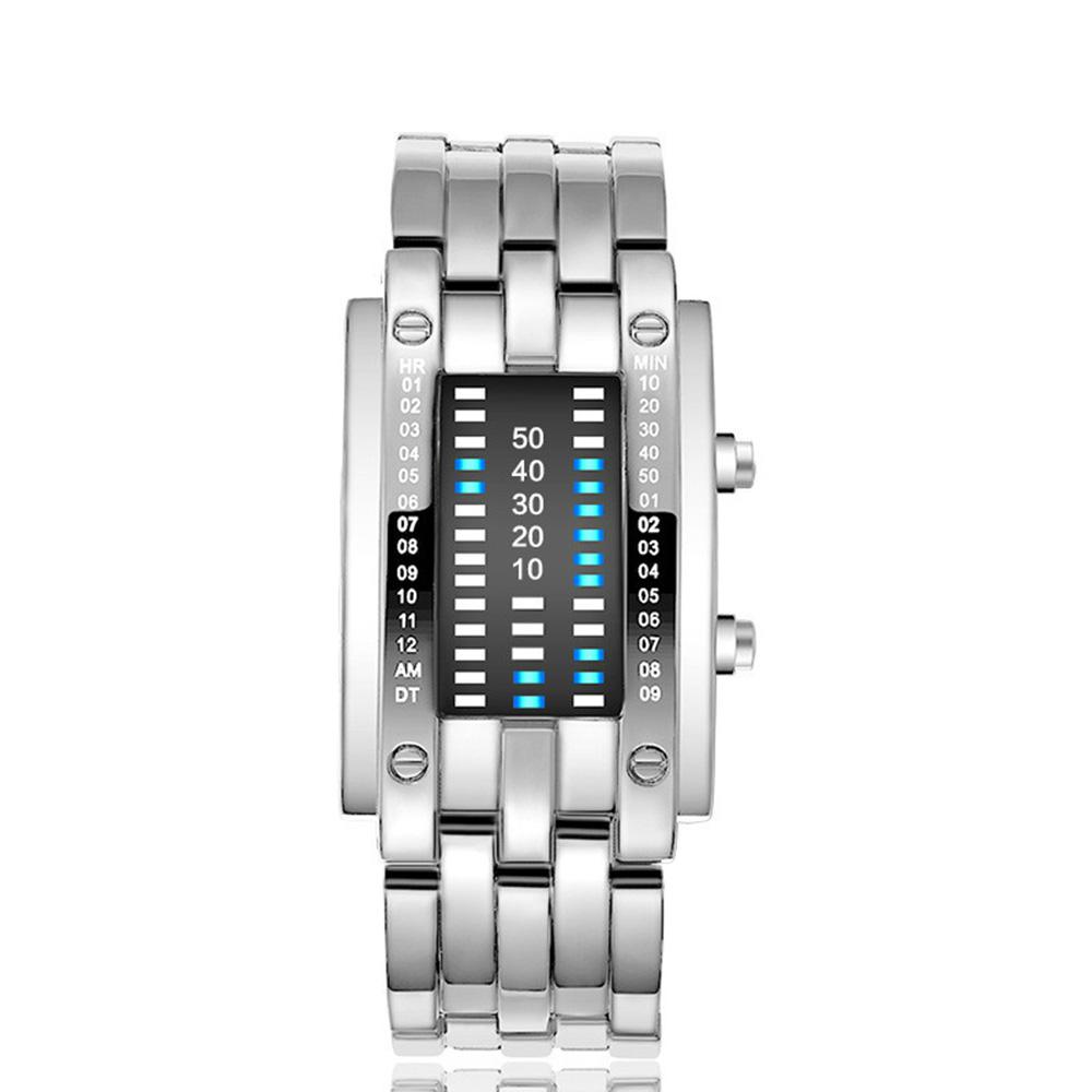 Creative Binary Watch LED Digital Display Buckle Type Lock Wristwatch_1