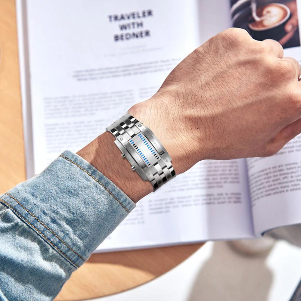 Creative Binary Watch LED Digital Display Buckle Type Lock Wristwatch_2